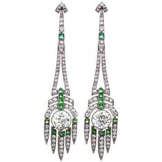 Art Deco Diamond, Emerald and Platinum Ear Pendants (1 688 050 UAH) ❤ liked on Polyvore featuring jewelry, earrings, art deco diamond earrings, chandelier pendants, emerald diamond earrings, platinum earrings and diamond pendant jewelry