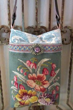 Lose the tapestry fabric above the needlepoint! Vintage Needlepoint Flowers Velvet Chenille by LadidaHandbags