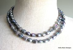Freshwater pearl necklace double strand by HollyMackDesigns, $159.00