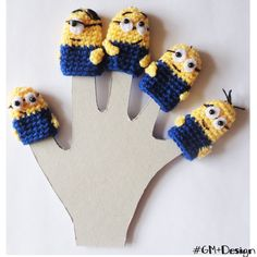 Minions Finger puppets , Toddler Toys, home accessory gift for kids, Waldorf toy, amigurumi, crochet finger theater, crochet puppets de GMmasDesign en Etsy