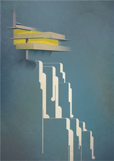 Frank Lloyd Wright by Alan Nagle, via Behance