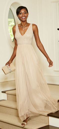Adrianna Papell | Sleeveless Tulle Gown with Pearl Beaded Bodice Diana Wedding Dress, Wedding Dresses, Tulle Gown, Lace Dress, Adrianna Papell, Size 00, Dress Making, Bodice, Chiffon