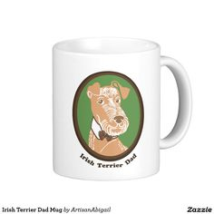 Irish Terrier Dad Mug; Abigail Davidson Art; ArtisanAbigail at Zazzle