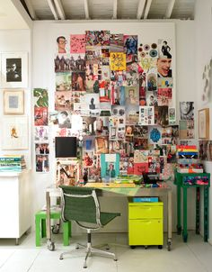Work Space Inspiration - Gene Meyer's desk. This will be my desk. No matter how many neat and organized desks I pin, mine will always be messy looking. (: