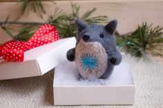 Christmas Ornament Felt Wolf Ornament Christmas by WooolyWool