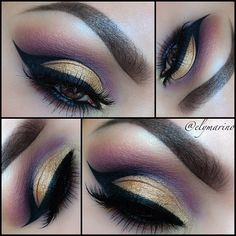gold, purple and black eyemakeup