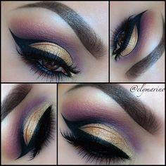 Purple and gold eyeshadow #vibrant #smokey #bold #eye #makeup #eyes