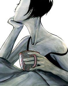 8x10 No Regrets Fine Art Print. Woman With Coffee by razorberries, $25.00