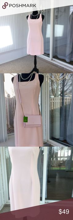 Cache Pastel Pink Fitted Sleeveless Dress Beautiful and classic describes this dress. Fitted to flatter. Shoulder seam to bottom hem measures 33 inches. Excellent condition ~ no rips, stains or tears. Perfect for any special spring or summer occasion. Cache Dresses Midi