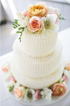 Rustic chic wedding cake idea - three-tier wedding cake with piped, textured frosting and fresh peach, cream, and pink flowers { Wedding Cakes With Flowers, Cool Wedding Cakes, Cake Flowers, Fresh Flowers, Pretty Flowers, Pink Flowers, Flag Cake, Cake Banner, Pretty Cakes