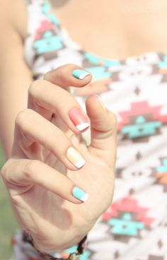 Spring / Summer Nail Colors, Pastel Yellow, Baby Blue, Light Coral, White Tips. #Nails