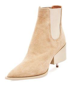 X2X3S Givenchy Suede Screw-Heel Chelsea Boot, Beige