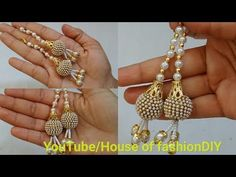 How To Make Blouse Hangings At Home. Thread Jewellery, Beaded Jewelry, Handmade Jewelry, Beaded Necklace, Paper Earrings, Bead Earrings, Jewelry Making Tutorials, Beading Tutorials, How To Make Tassels
