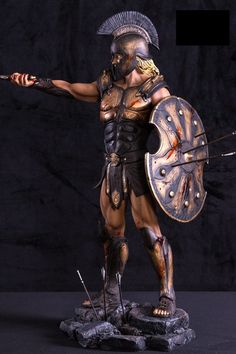 Information and detail for Achilles Immortality Statue Statue Spartan Tattoo, Greek Soldier, Character Art, Character Design, Ancient Armor, Roman Warriors, Greek Warrior, Spartan Warrior, Warrior Tattoos