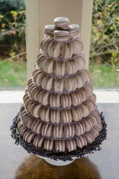 Lavender macaron wedding tower. All naturally coloured and flavoured and made with local ingredients and local truly free range eggs  Photo by Colin Murdoch Studio http://www.colinmurdochstudio.com/