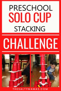 Toddler Activities, Learning Activities, Preschool Activities, Play Based Learning, Kids Learning, Solo Cup Crafts, Stem Challenges, Engineering Challenges, Toddler Art Projects