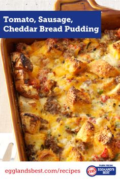 This savory dish is the perfect excuse to have bread pudding for brunch! #EgglandsBest #BreadPudding #Brunch #Recipe
