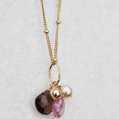 Smokey Quartz, Pearl & Pink CZ Necklace