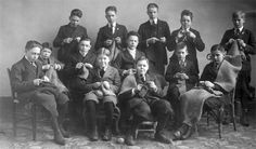 """1918, Cooperstown NY: boys knitting for the Red Cross for soldiers. Page also has a thanak you letter from the Superintendent of Knitting congratulating the """"splendid"""" and """"manly"""" boys on their knitting efforts."""