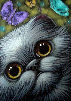 Cat Art... =^. ^=... ❤... Black Smokey Persian Cat  & Butterflies By Artist Cyra R Cancel...