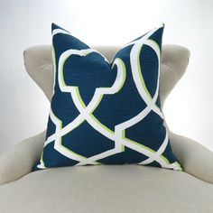 Navy & Green Pillow Cover MANY SIZES blue lime by DeliciousPillows