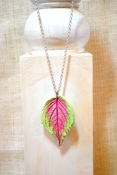 Leaf Necklace - Air Dry Clay -Coleus PInk Green Leaf - Woodland - Nature  - Gardener Gift - Fall Winter - Long Necklace - Silver Anniversary