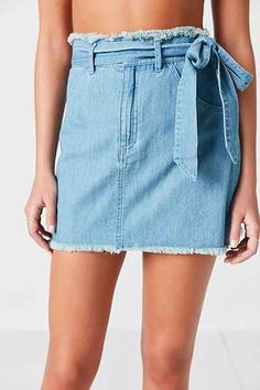 Silence + Noise Channing Chambray Tie-Waist Mini Skirt - Urban Outfitters