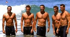The boys from 'Bondi Rescue' - Lifesavers. My CPR class shared the rescue of a young man by these boys during a photo shoot like this. Tucker's life was saved! Travel Oz, Cute Country Boys, Beach Lifeguard, Surfer Boys, Hula Dancers, Bondi Beach, Hot Hunks, That One Friend, Australia