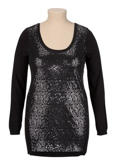 Sequin Front Tunic Sweater