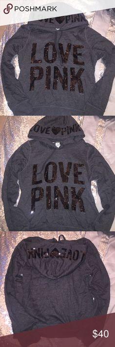 Victoria's Secret PINK Sequin Sweatshirt Hoodie Dark gray sweatshirt with black sequins. Size large. Only worn a couple of times. PINK Victoria's Secret Tops Sweatshirts & Hoodies