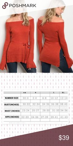 8700803b0ca8 ❤️Fabulous Off The Shoulder Sweater  This fabulous reddish orange off the  shoulder sweater will sure brighten anyone s day  Tie s at the waist with  bell ...