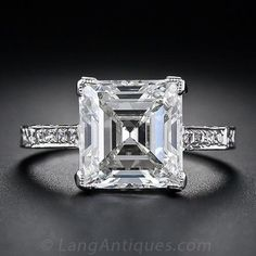 3.46 cts Edwardian diamond ring, circa 1910, gleams with a gorgeous square step-cut, or Carré cut (an emerald-cut diamond without cut corners).