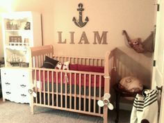 My baby's nautical room @Suzanne Carlon hehe so cute