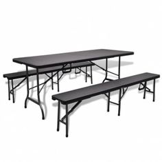 Foldable Garden Table Set 2 Benches HDPE Black Imitation Rattan 180cm   Enjoy this Great Novelty. Take a look LUXURY HOME BRANDS and buy this offer Now!