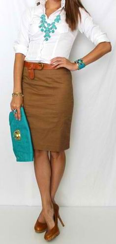 white , pencil skirt and turquoise accents