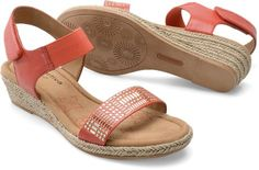 The Comfortiva Beck in Coral - A jute wedge sandal with geometric studding