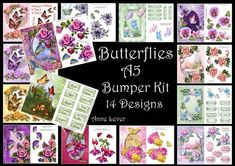 This lovely bumper kit brings together 14 of my most popular A5 butterfly themed designs.    Each design is available separately on CUP, so here are the cup numbers so you don't double up.    lace butterflies and pale pink roses cup610000_1763  lovely lilies and butterflies a5 - 609221  pretty pastel roses and butterflies - 594130  beautiful pink roses and butterflies - 544209  gorgeous lilac roses and butterflies - 544208  pretty peach roses and butterflies - 543988  enchanted flowers a...