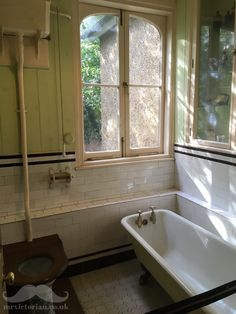 Victorian Edwardian bathroom interior at the Honeywood Museum, Carshalton, London, . Edwardian Bathroom, Edwardian House, Vintage Bathrooms, 1920s Bathroom, Luxury Bathrooms, Modern Master Bathroom, Small Bathroom, Navy Bathroom, Ikea Bathroom