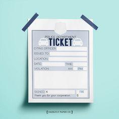 Kids Police Printable Tickets Pretend Play by HazelflyPaperCo