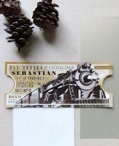 Train Ticket Invites from Emily Edson Design https://www.etsy.com/listing/172167393/train-ticket-party-invitation-custom? Winter Birthday Invitations, Polar Express Party Invite, Train Birthday, Elegant Winter Invites, New Years Sleepover
