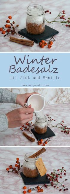 Make your own bath salt - 3 DIY recipes to relax - DIY Geschenke selber machen - Making bath salts yourself is a great, money-saving way to get bath additives. This winter bath sal - Diy Presents, Diy Gifts, Diy Natal, Bath Additives, Cute Diy, Bath Salts Recipe, Make Your Own, Make It Yourself, No Salt Recipes