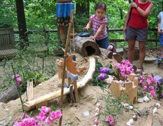 outdoor sand, wood, natural play area