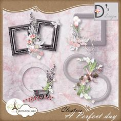 """Un pack de 4 magnifiques clusters réalisés avec le kit """"A Perfect Day"""" par Doudou's Design"""