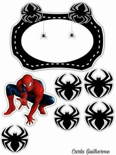 Spiderman with Spiders Free Printable Cake Toppers. - Oh My Fiesta! for Geeks Spiderman Chibi, Cake Spiderman, Bird Party, Pillow Box, Superhero Party, Birthday Cake Toppers, Free Printables, Geek Stuff, Clip Art