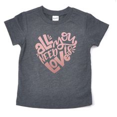 Rose gold Valentine's Day shirt for kids. All you need is love tshirt https://www.etsy.com/listing/569772040/rose-gold-valentines-all-you-need-is