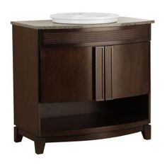 Fiji 37 in. Vanity with Open Shelf in Java and Granite Top in Glacier Blue and Sink in White-FIJA3722OS at The Home Depot