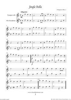 Alto Saxophone Music for Beginners christmas | Christmas Sheet Music Carols for trumpet and alto saxophone, sheet ...