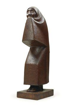 """Ernst Barlach, """"Weeping Woman,"""" Wood Sculpture, 1923."""