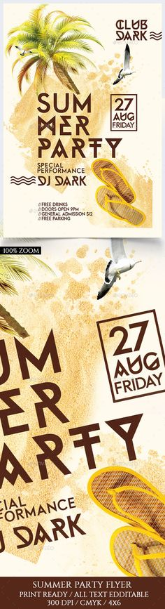 Summer Party Flyer Template PSD. Download here: https://graphicriver.net/item/summer-party/17098023?ref=ksioks
