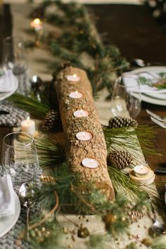 log tealight candle holder, centerpiece
